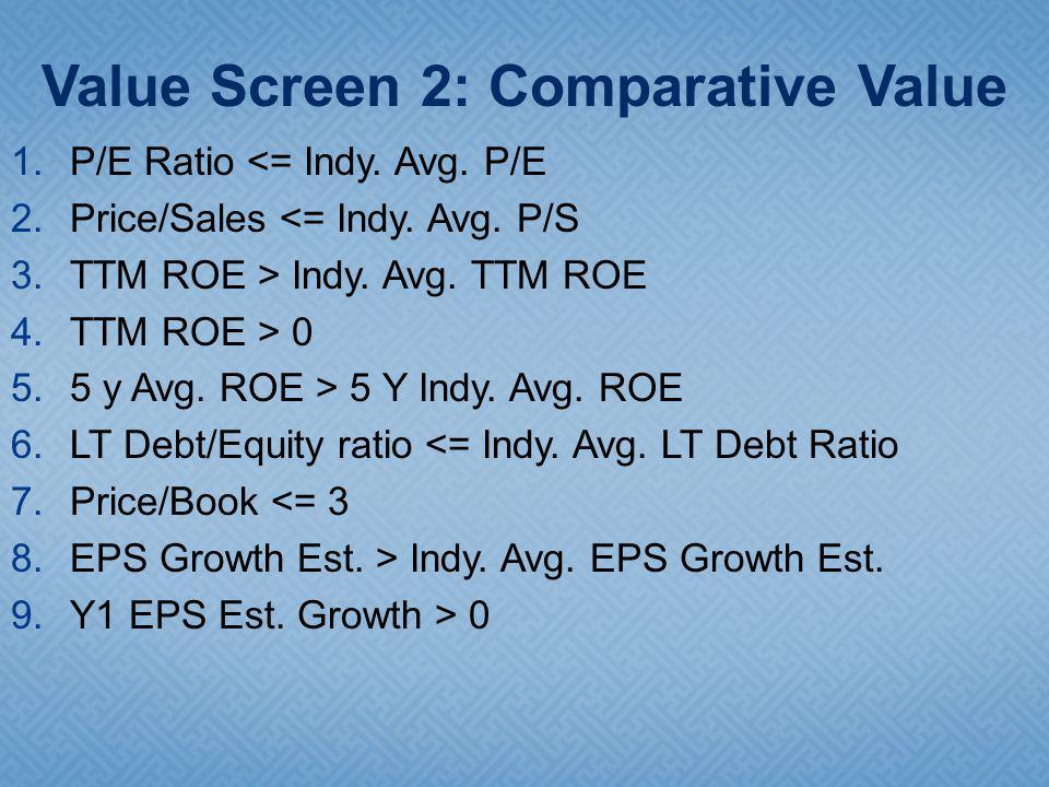 1.P/E Ratio <= Indy. Avg. P/E 2.Price/Sales <= Indy.