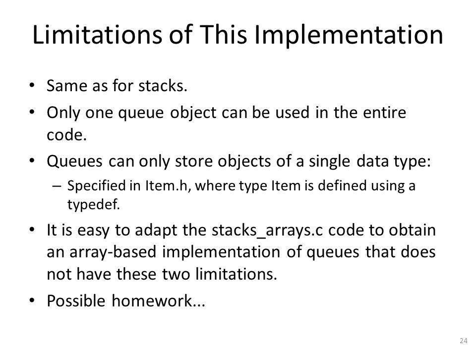 Limitations of This Implementation Same as for stacks.