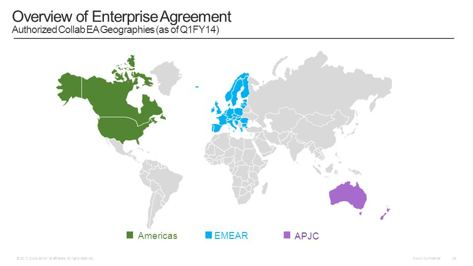 Cisco Confidential © 2010 Cisco and/or its affiliates. All rights reserved. 25 Overview of Enterprise Agreement Authorized Collab EA Geographies (as o