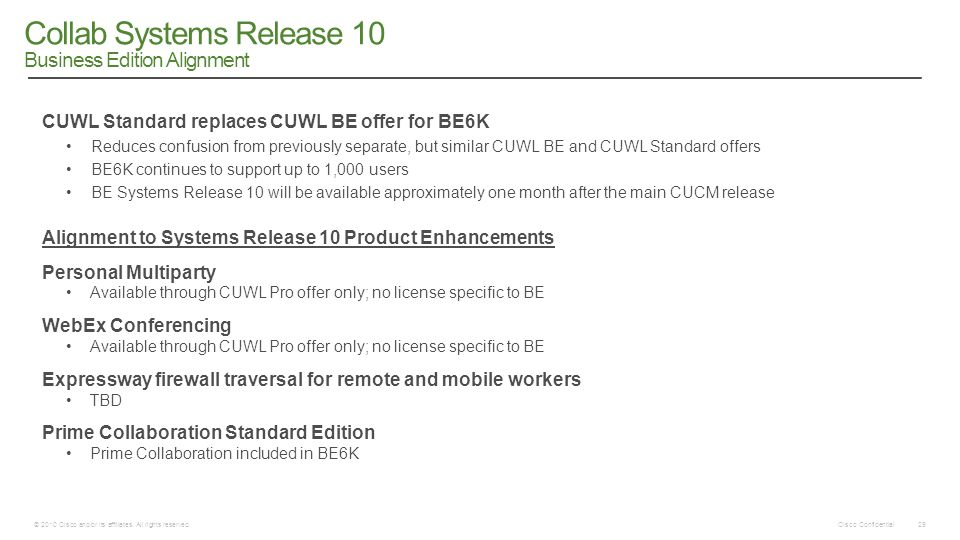 Cisco Confidential © 2010 Cisco and/or its affiliates. All rights reserved. 29 Collab Systems Release 10 Business Edition Alignment CUWL Standard repl