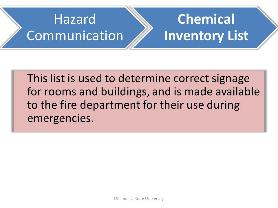 This list is used to determine correct signage for rooms and buildings, and is made available to the fire department for their use during emergencies.