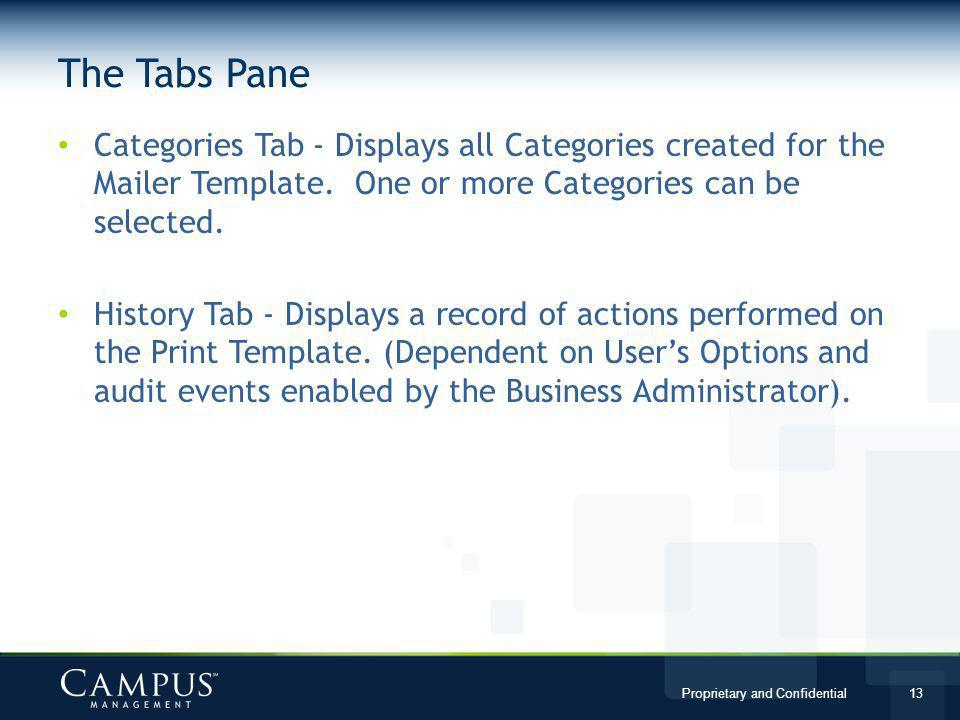 Proprietary and Confidential 13 The Tabs Pane Categories Tab - Displays all Categories created for the Mailer Template.
