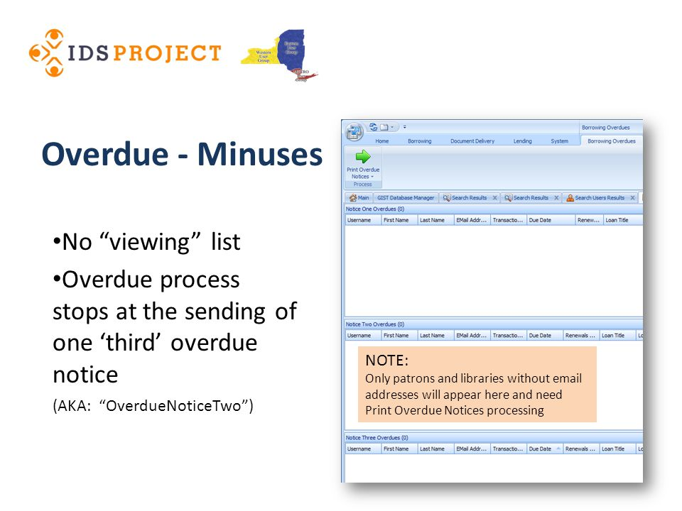 No viewing list Overdue process stops at the sending of one third overdue notice (AKA: OverdueNoticeTwo) Overdue - Minuses NOTE: Only patrons and libraries without email addresses will appear here and need Print Overdue Notices processing