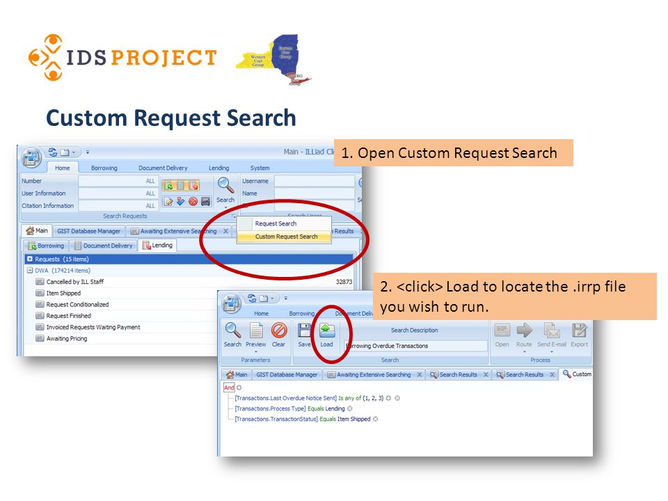 Custom Request Search 2. Load to locate the.irrp file you wish to run.