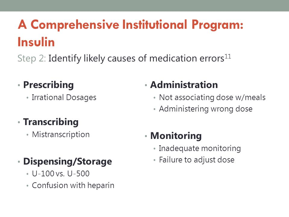 A Comprehensive Institutional Program: Insulin Step 2: Identify likely causes of medication errors 11 Prescribing Irrational Dosages Transcribing Mist