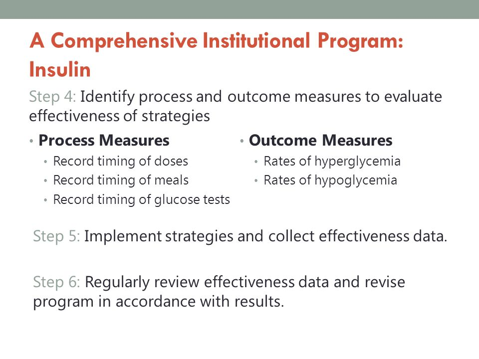 A Comprehensive Institutional Program: Insulin Step 4: Identify process and outcome measures to evaluate effectiveness of strategies Process Measures