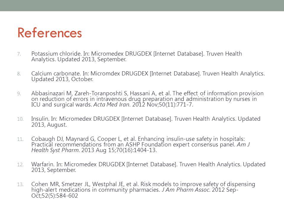References 7. Potassium chloride. In: Micromedex DRUGDEX [Internet Database]. Truven Health Analytics. Updated 2013, September. 8. Calcium carbonate.