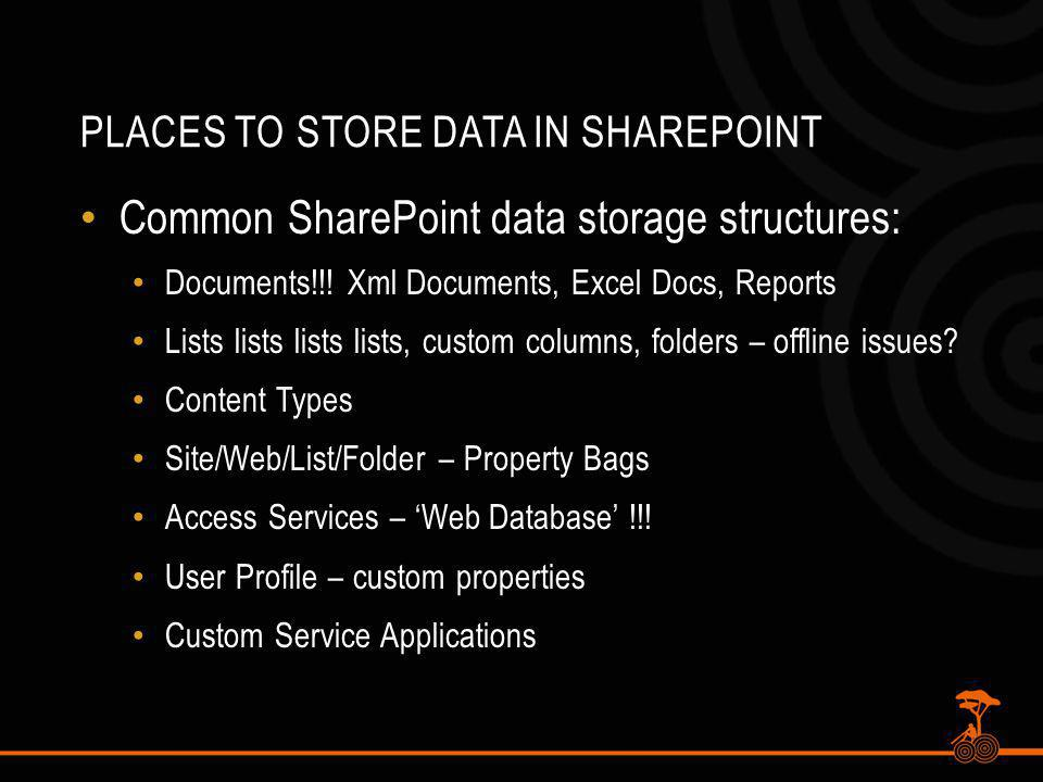 PLACES TO STORE DATA IN SHAREPOINT Common SharePoint data storage structures: Documents!!.