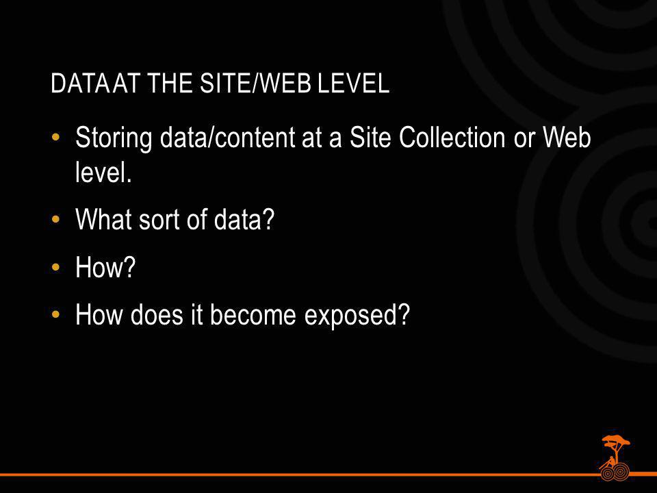DATA AT THE SITE/WEB LEVEL Storing data/content at a Site Collection or Web level.