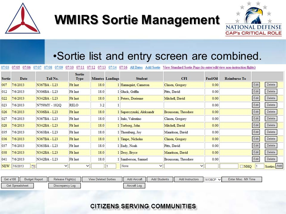 WMIRS Sortie Management WMIRS Sortie Management CITIZENS SERVING COMMUNITIES Sortie list and entry screen are combined.