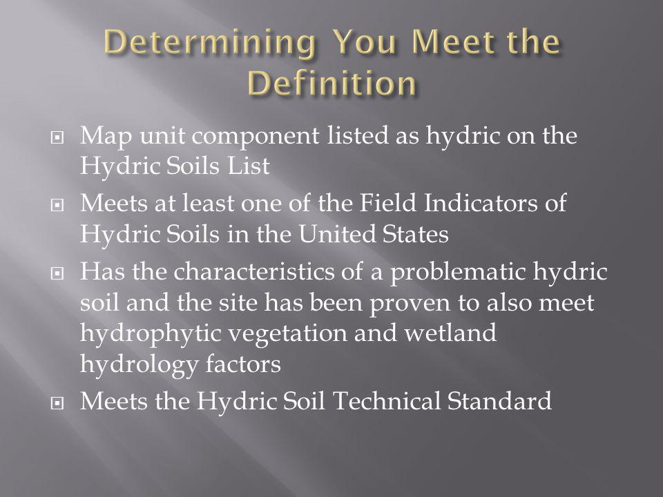 Map unit component listed as hydric on the Hydric Soils List Meets at least one of the Field Indicators of Hydric Soils in the United States Has the c
