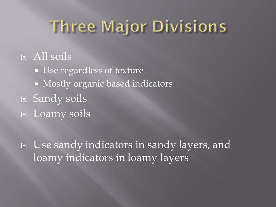 All soils Use regardless of texture Mostly organic based indicators Sandy soils Loamy soils Use sandy indicators in sandy layers, and loamy indicators