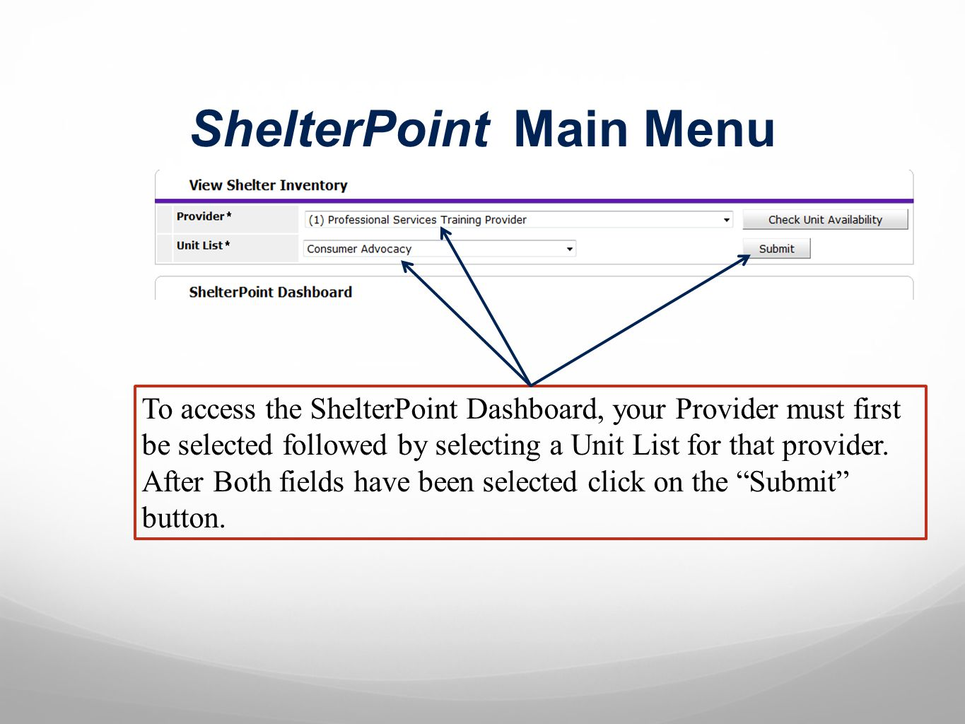 ShelterPoint Dashboard NOTE: This is a complete Dashboard list.