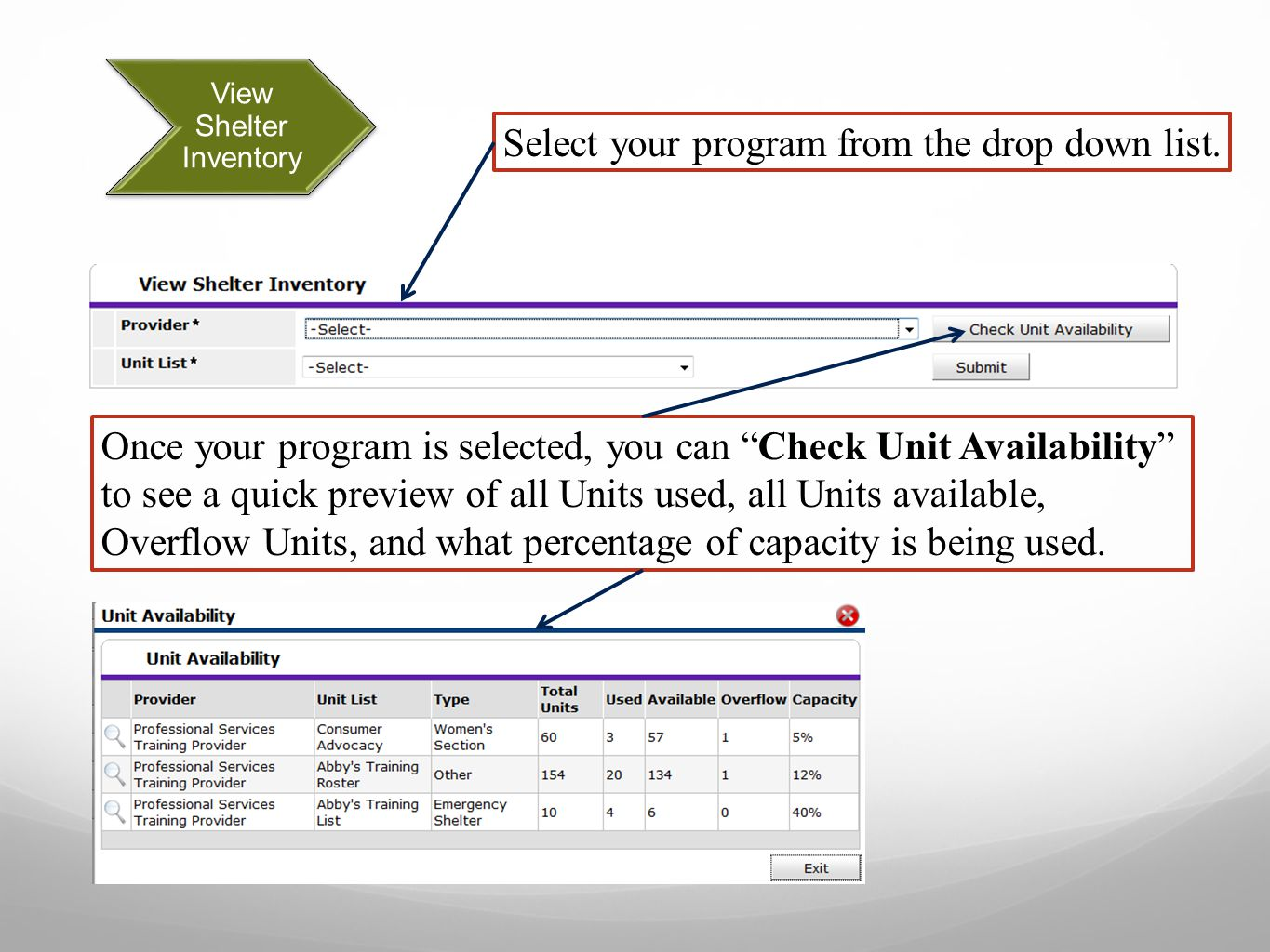 Confirmation & Check Out List The Check Out List lets the Case Manager: Select Clients to Check Out