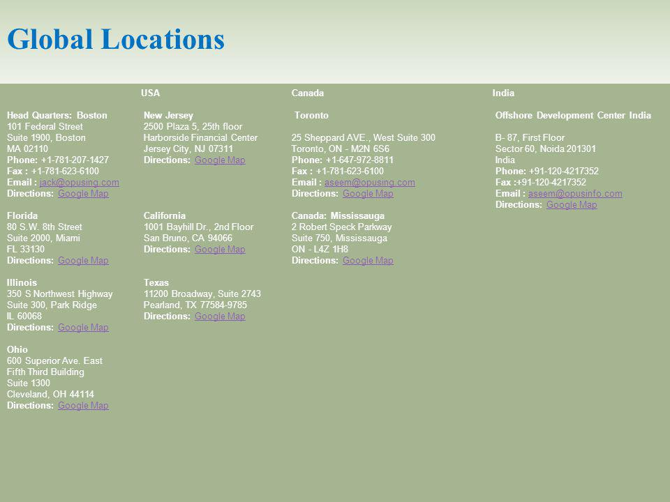 Global Locations USA Head Quarters: Boston New Jersey 101 Federal Street 2500 Plaza 5, 25th floor Suite 1900, Boston Harborside Financial Center MA 02