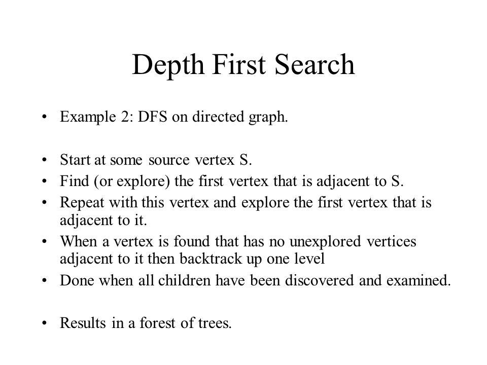 Depth First Search Example 2: DFS on directed graph.