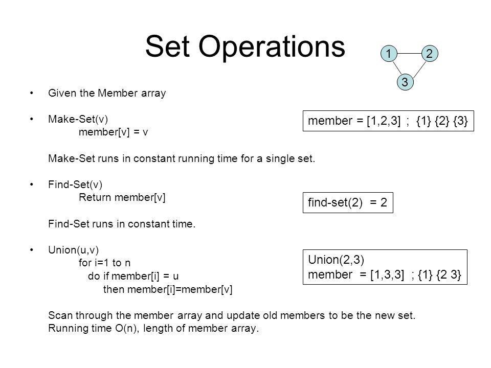 Set Operations Given the Member array Make-Set(v) member[v] = v Make-Set runs in constant running time for a single set.