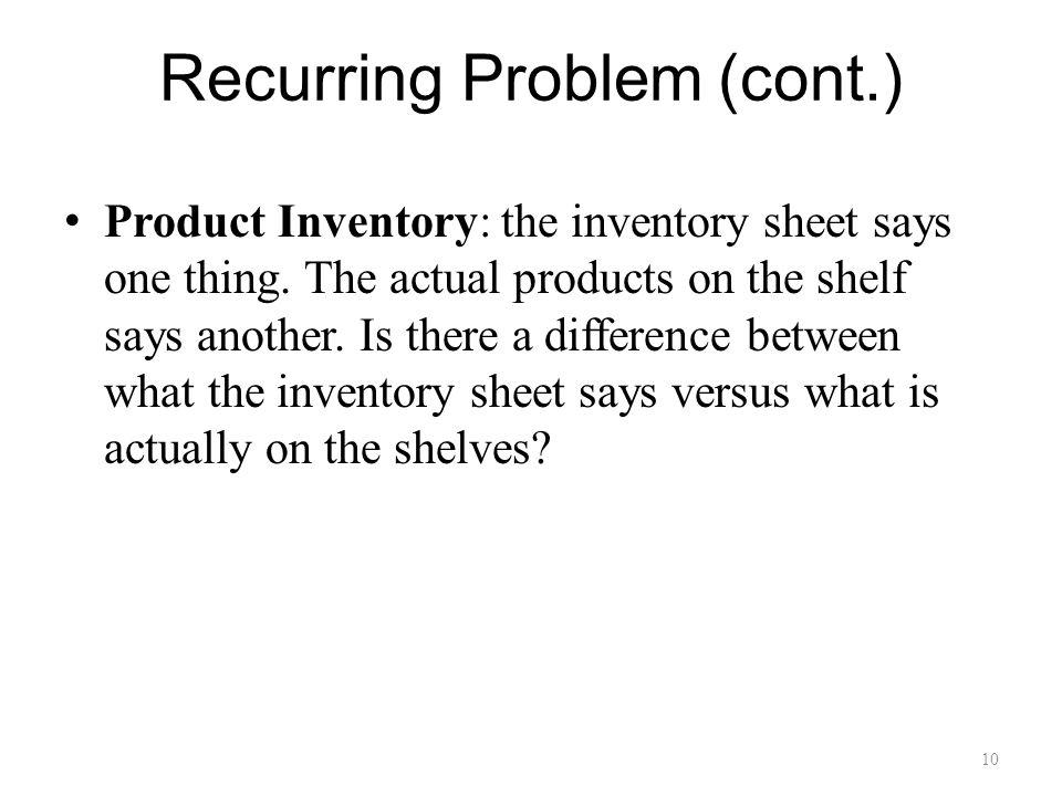 10 Recurring Problem (cont.) Product Inventory: the inventory sheet says one thing.