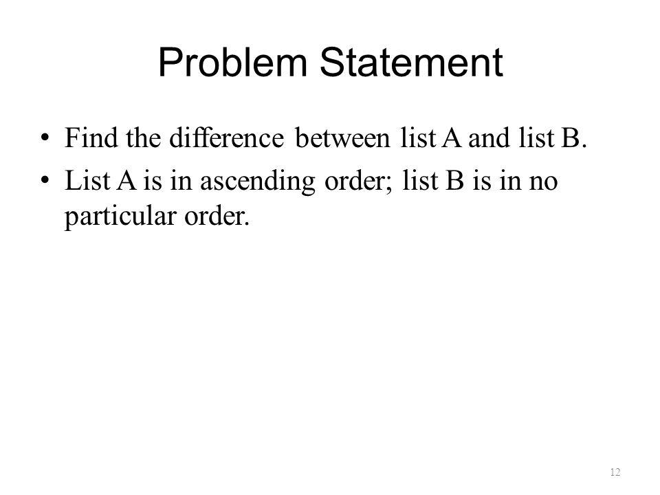 Problem Statement Find the difference between list A and list B.