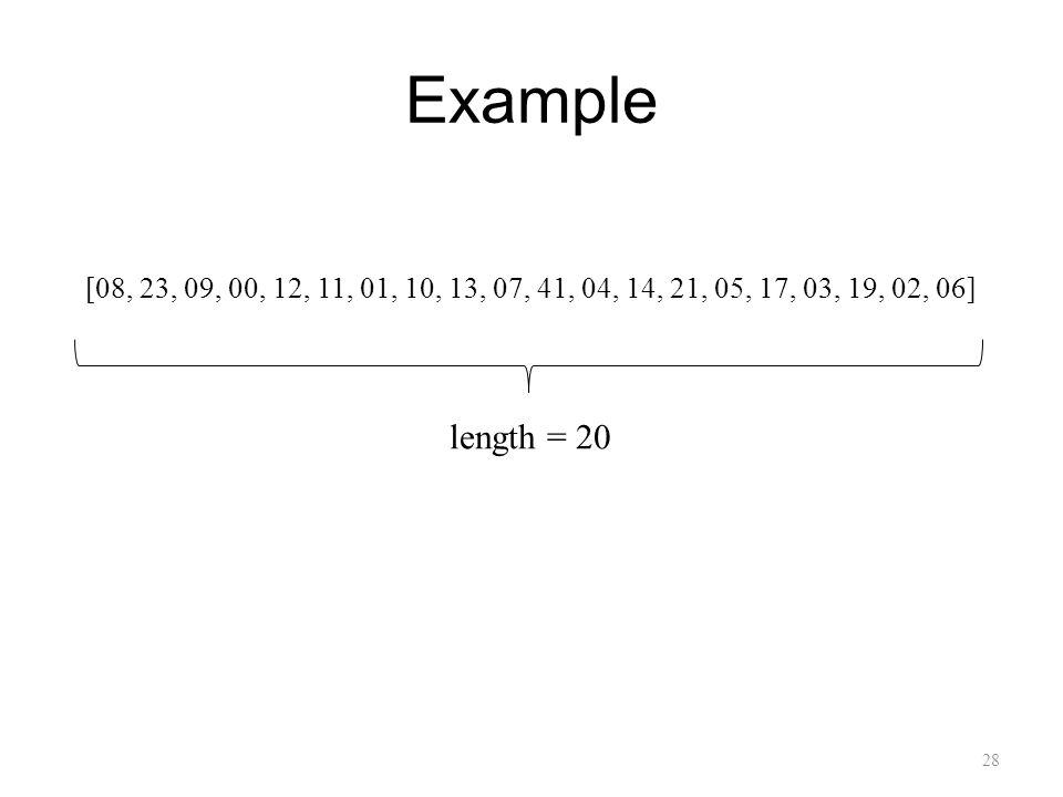 Example 28 [08, 23, 09, 00, 12, 11, 01, 10, 13, 07, 41, 04, 14, 21, 05, 17, 03, 19, 02, 06] length = 20