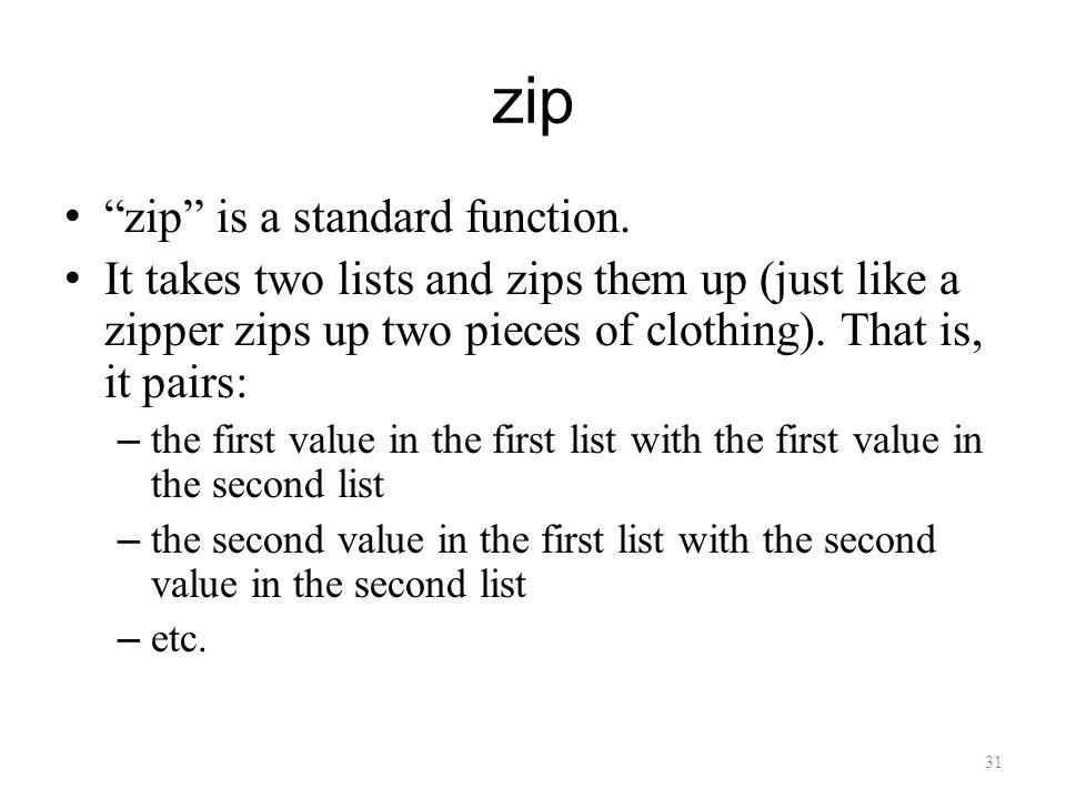 zip zip is a standard function.