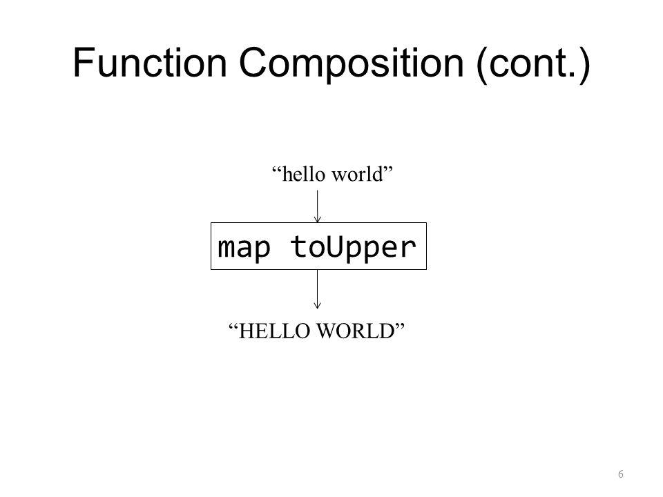 Function Composition (cont.) map toUpper hello world HELLO WORLD 6