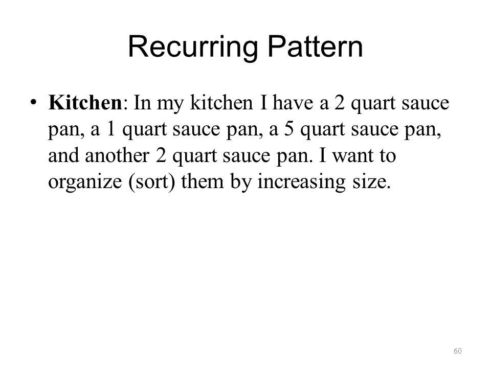 Recurring Pattern Kitchen: In my kitchen I have a 2 quart sauce pan, a 1 quart sauce pan, a 5 quart sauce pan, and another 2 quart sauce pan.