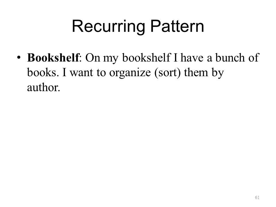 Recurring Pattern Bookshelf: On my bookshelf I have a bunch of books.