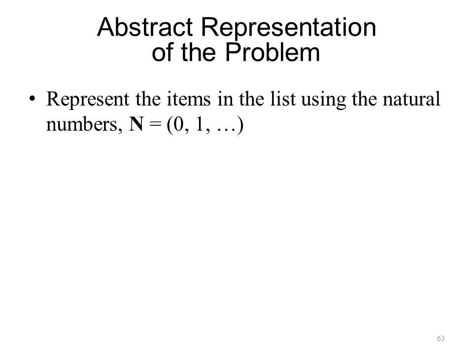 63 Abstract Representation of the Problem Represent the items in the list using the natural numbers, N = (0, 1, …)