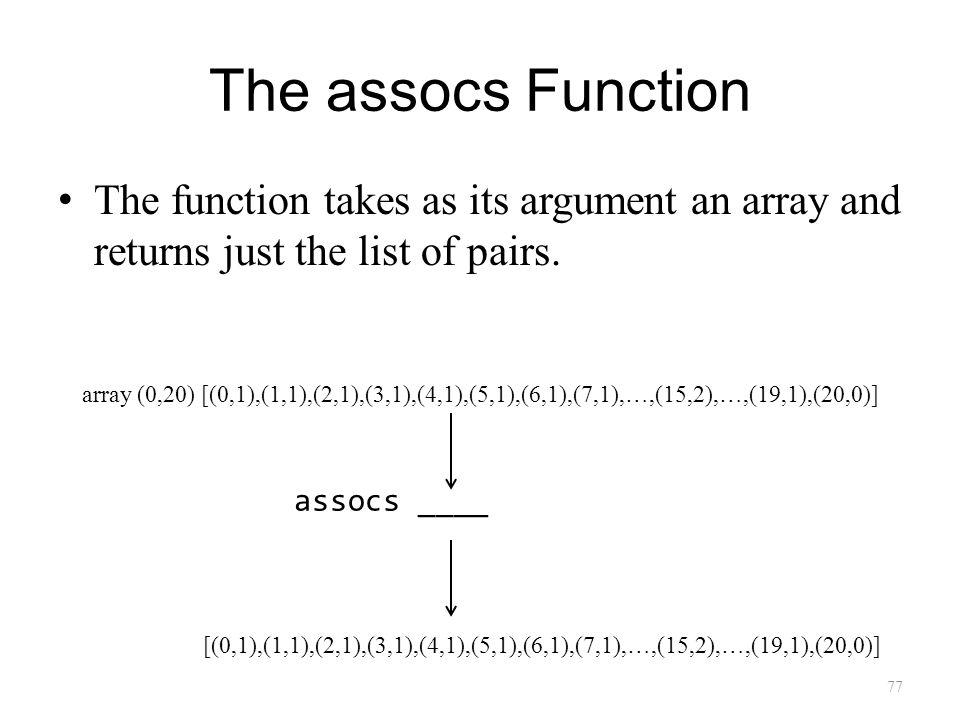 The assocs Function The function takes as its argument an array and returns just the list of pairs.