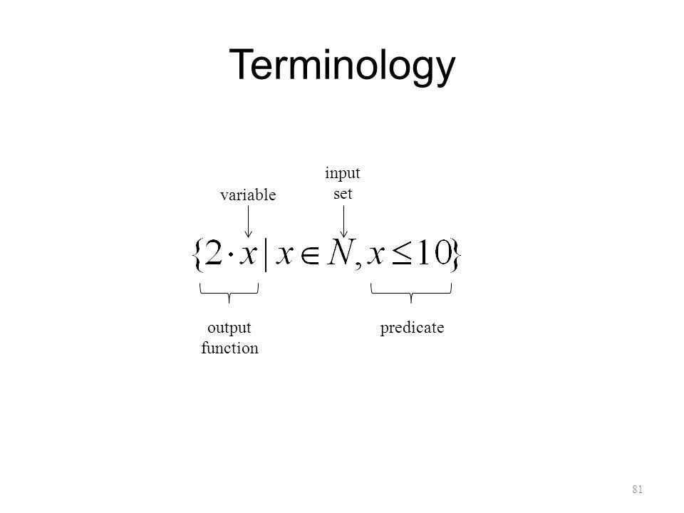 Terminology 81 output function variable input set predicate