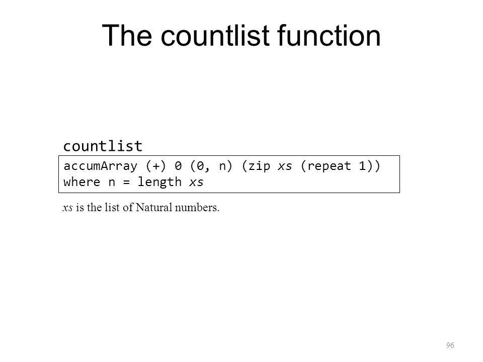 96 The countlist function accumArray (+) 0 (0, n) (zip xs (repeat 1)) where n = length xs countlist xs is the list of Natural numbers.