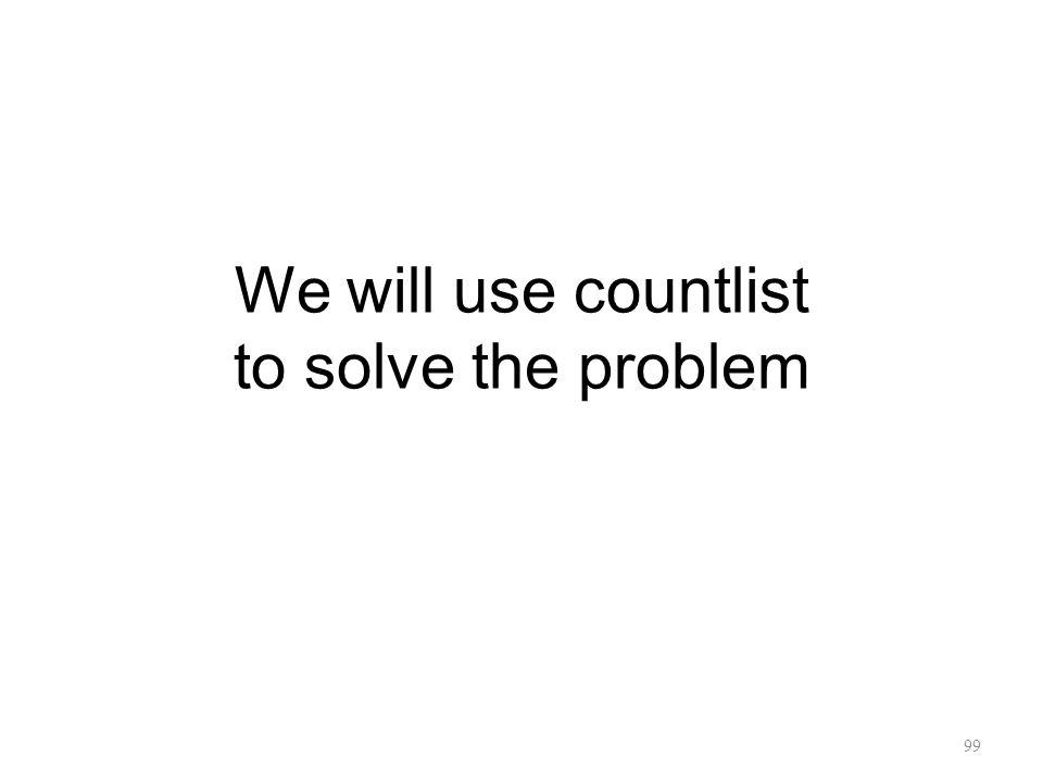 We will use countlist to solve the problem 99