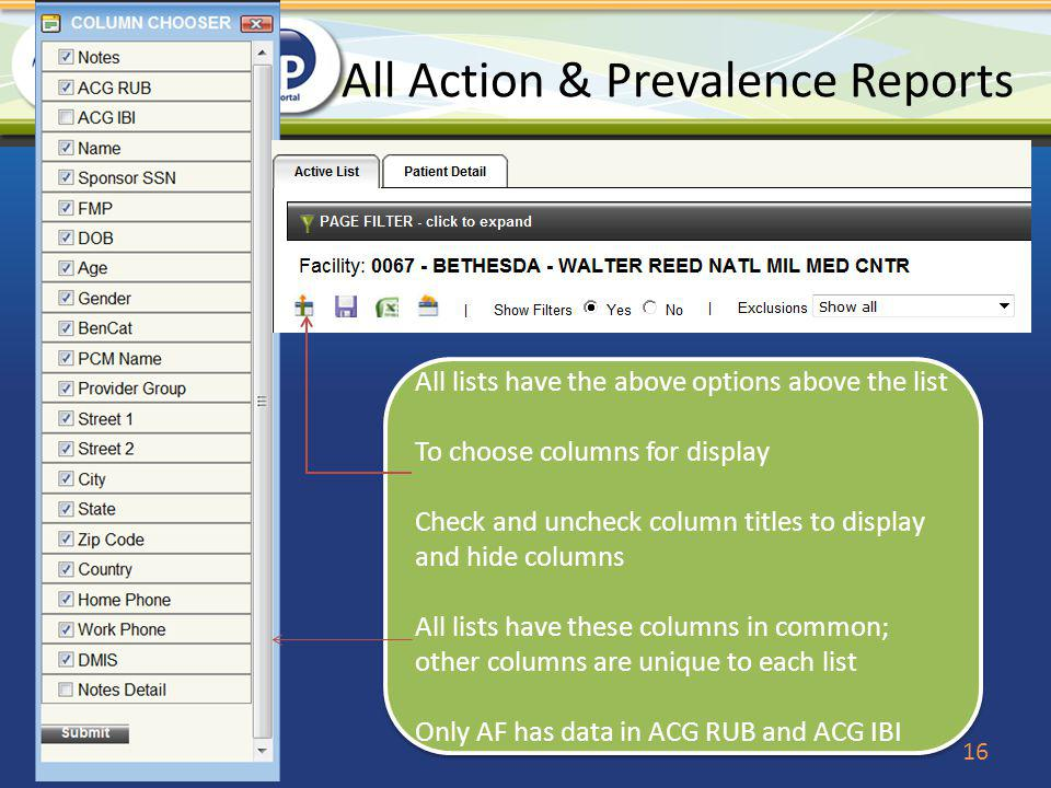 All Action & Prevalence Reports 16 All lists have the above options above the list To choose columns for display Check and uncheck column titles to di