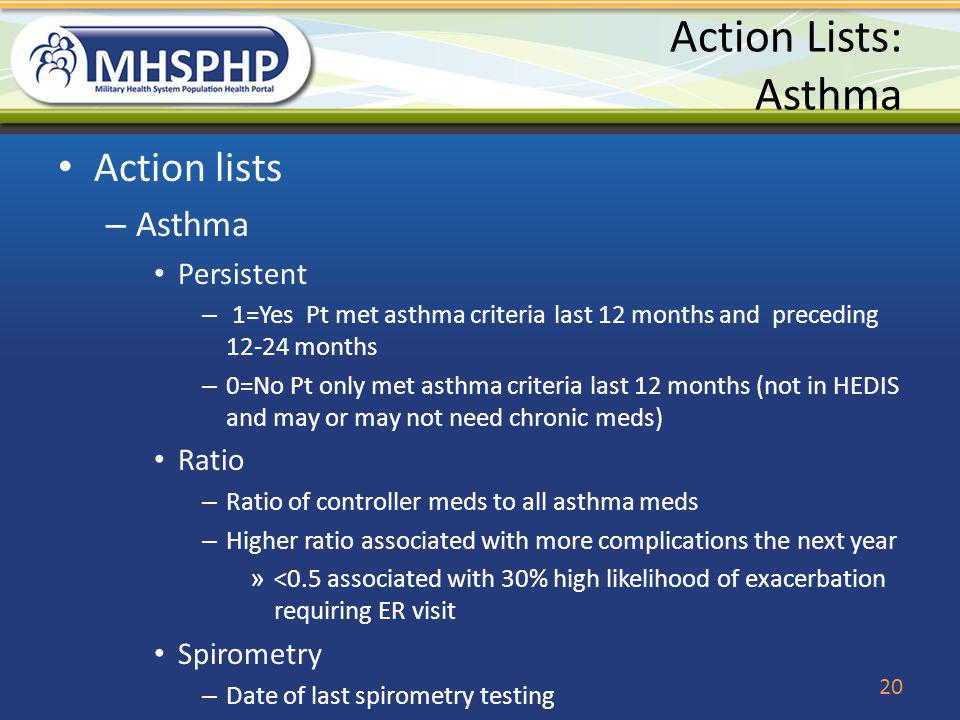 Action Lists: Asthma Action lists – Asthma Persistent – 1=Yes Pt met asthma criteria last 12 months and preceding 12-24 months – 0=No Pt only met asth