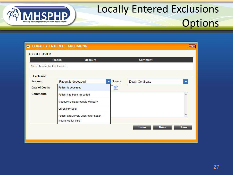 Locally Entered Exclusions Options 27