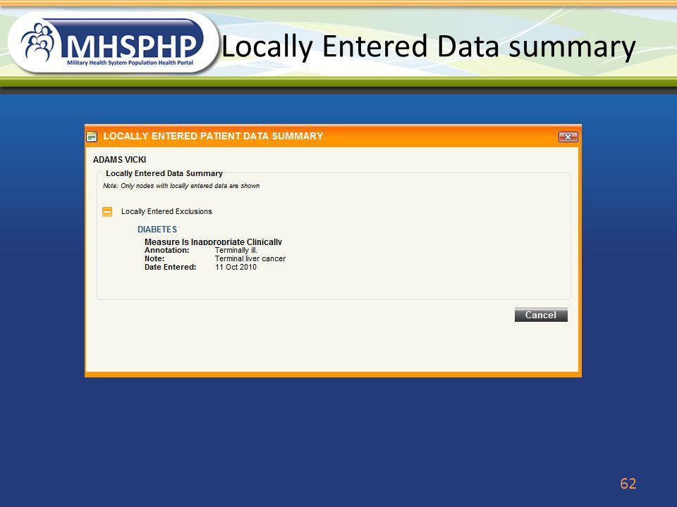 Locally Entered Data summary 62