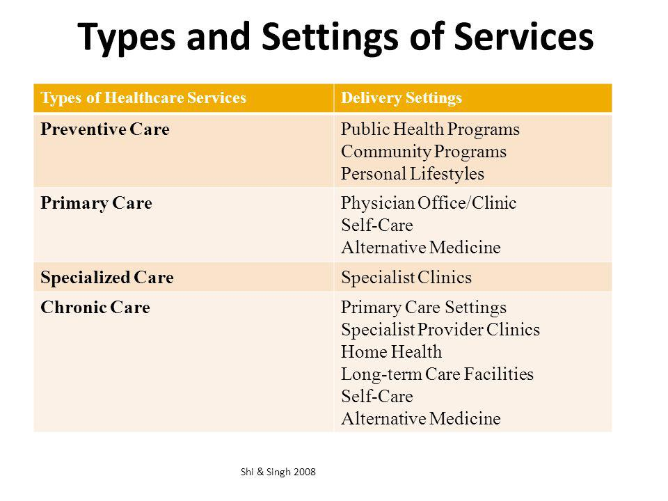Types and Settings of Services Shi & Singh 2008 Types of Healthcare ServicesDelivery Settings Preventive CarePublic Health Programs Community Programs
