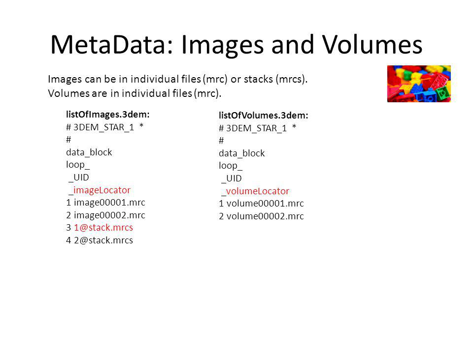 MetaData: Images and Volumes Images can be in individual files (mrc) or stacks (mrcs).