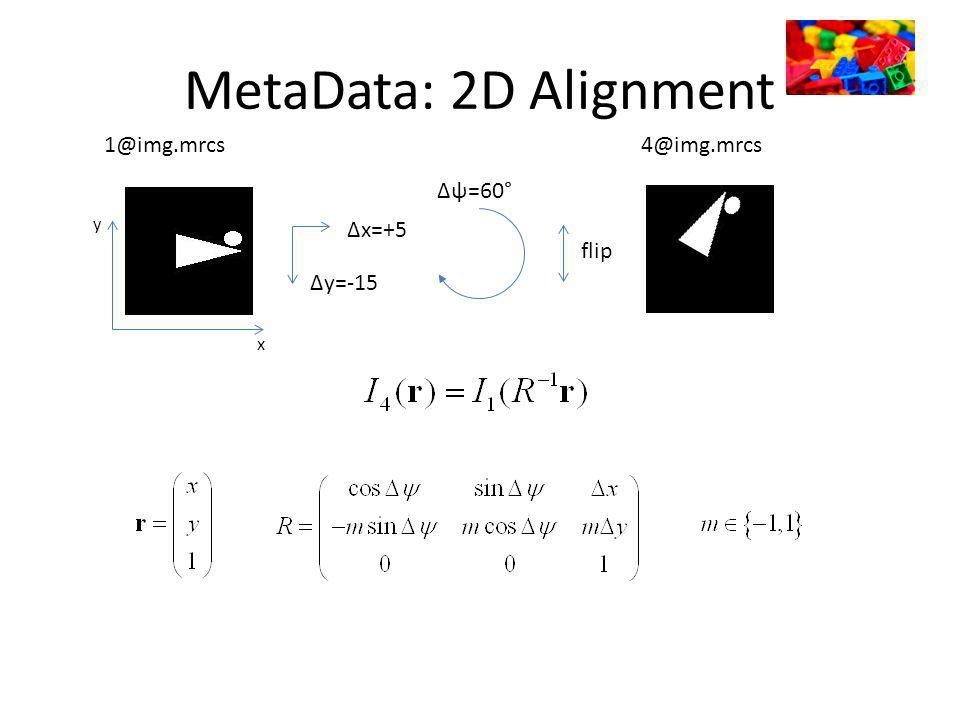 MetaData: 2D Alignment x y 1@img.mrcs Δx=+5 Δy=-15 Δψ=60° flip 4@img.mrcs