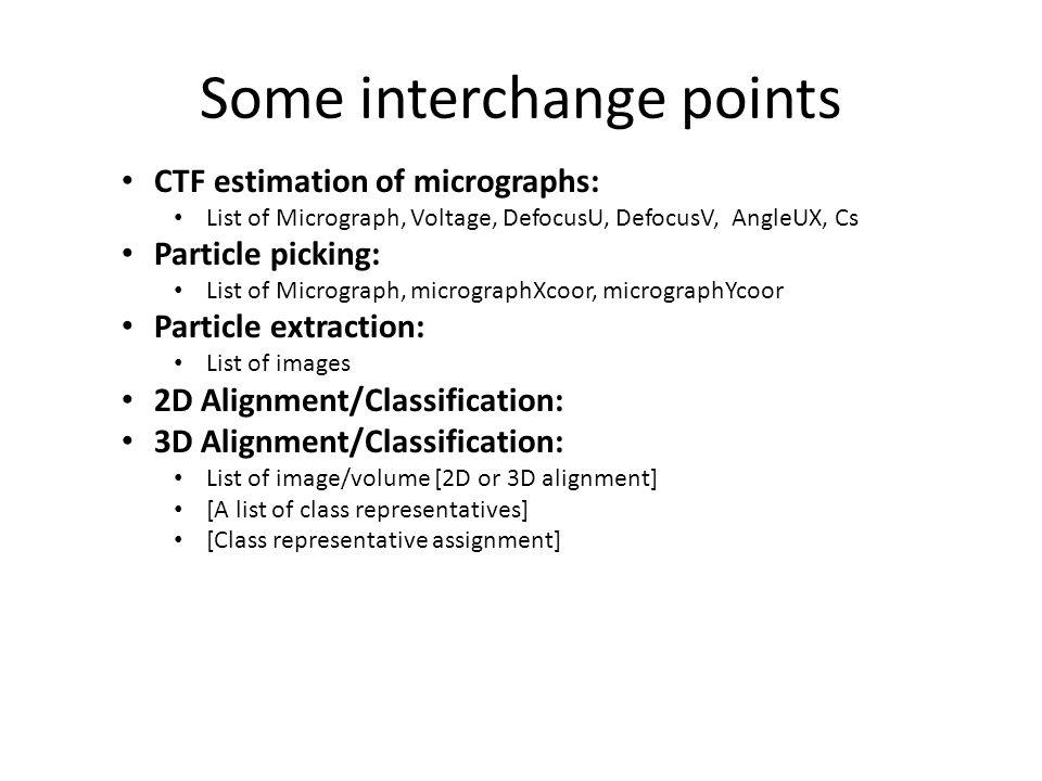 Some interchange points CTF estimation of micrographs: List of Micrograph, Voltage, DefocusU, DefocusV, AngleUX, Cs Particle picking: List of Micrograph, micrographXcoor, micrographYcoor Particle extraction: List of images 2D Alignment/Classification: 3D Alignment/Classification: List of image/volume [2D or 3D alignment] [A list of class representatives] [Class representative assignment]