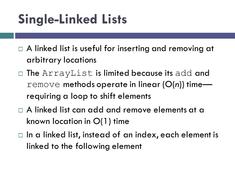 A List Node A node can contain: a data item one or more links A link is a reference to a list node In our structure, the node contains a data field named data of type E and a reference to the next node, named next