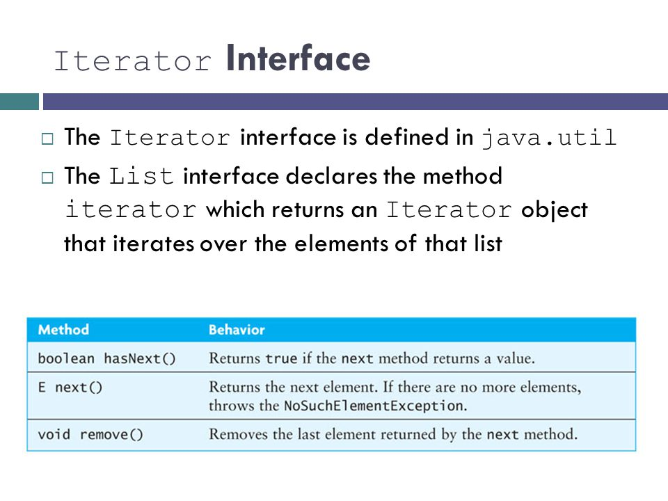 Iterator Interface The Iterator interface is defined in java.util The List interface declares the method iterator which returns an Iterator object tha