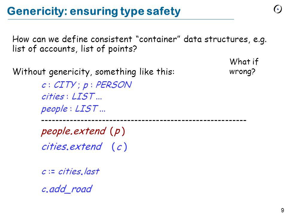 8 A generic class class LIST [ G ] feature extend (x : G )...
