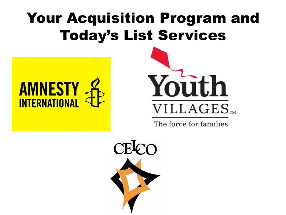 Your Acquisition Program and Todays List Services