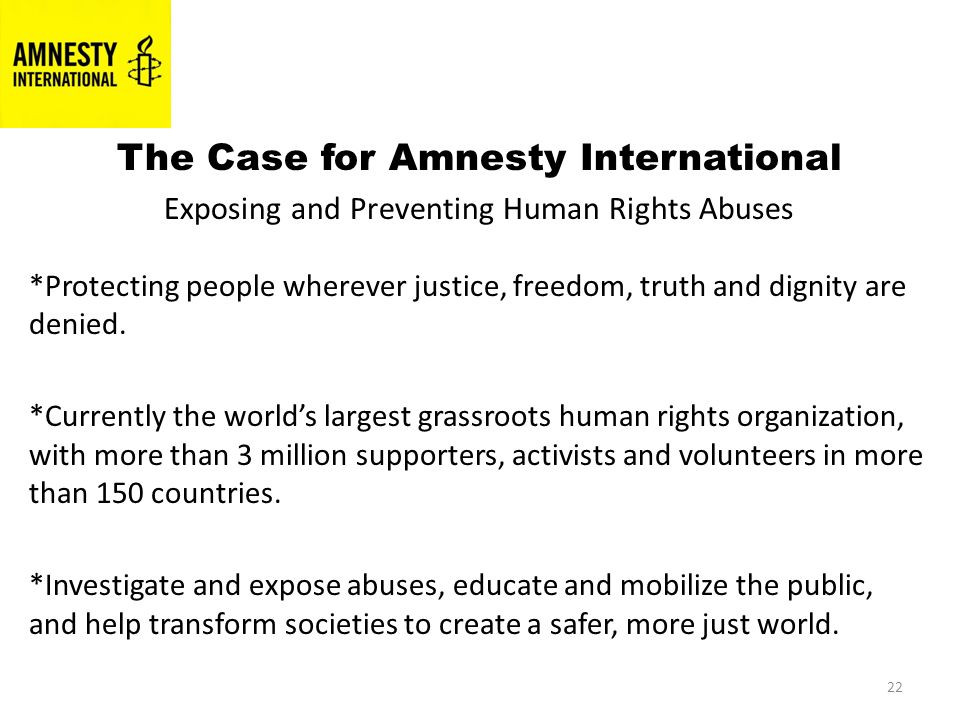 22 The Case for Amnesty International Exposing and Preventing Human Rights Abuses *Protecting people wherever justice, freedom, truth and dignity are denied.