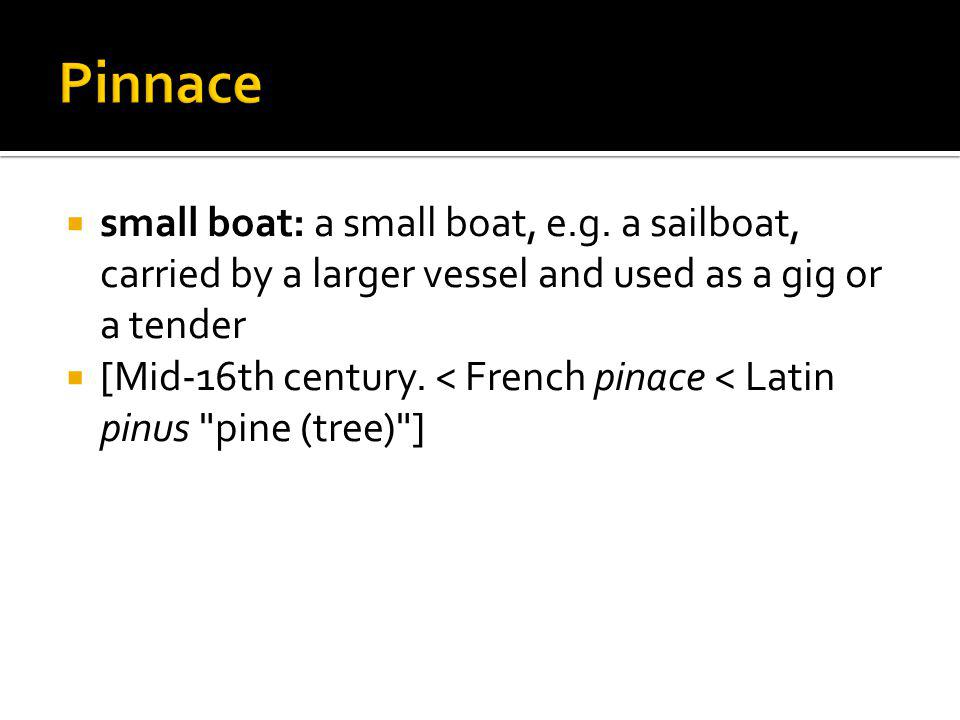 small boat: a small boat, e.g. a sailboat, carried by a larger vessel and used as a gig or a tender [Mid-16th century. < French pinace < Latin pinus
