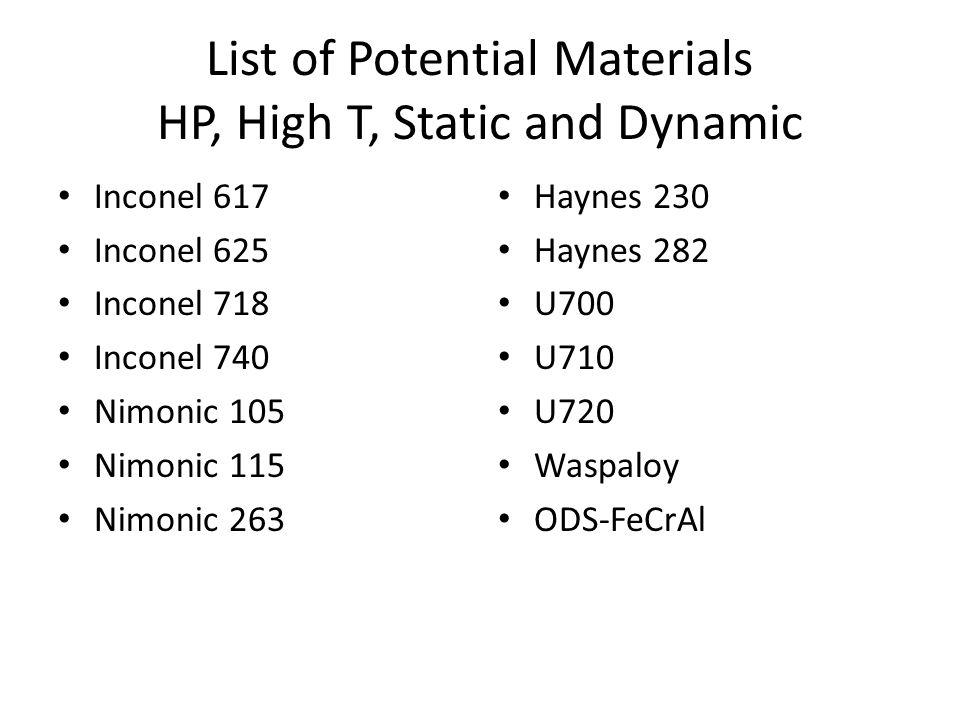 List of Potential Materials HP, High T, Static and Dynamic Inconel 617 Inconel 625 Inconel 718 Inconel 740 Nimonic 105 Nimonic 115 Nimonic 263 Haynes