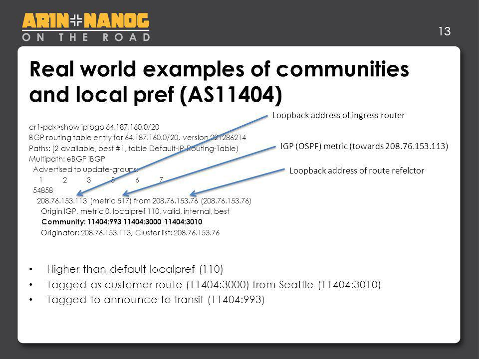13 Real world examples of communities and local pref (AS11404) cr1-pdx>show ip bgp 64.187.160.0/20 BGP routing table entry for 64.187.160.0/20, version 221286214 Paths: (2 available, best #1, table Default-IP-Routing-Table) Multipath: eBGP iBGP Advertised to update-groups: 1 2 3 5 6 7 54858 208.76.153.113 (metric 517) from 208.76.153.76 (208.76.153.76) Origin IGP, metric 0, localpref 110, valid, internal, best Community: 11404:993 11404:3000 11404:3010 Originator: 208.76.153.113, Cluster list: 208.76.153.76 Higher than default localpref (110) Tagged as customer route (11404:3000) from Seattle (11404:3010) Tagged to announce to transit (11404:993) IGP (OSPF) metric (towards 208.76.153.113) Loopback address of ingress router Loopback address of route refelctor