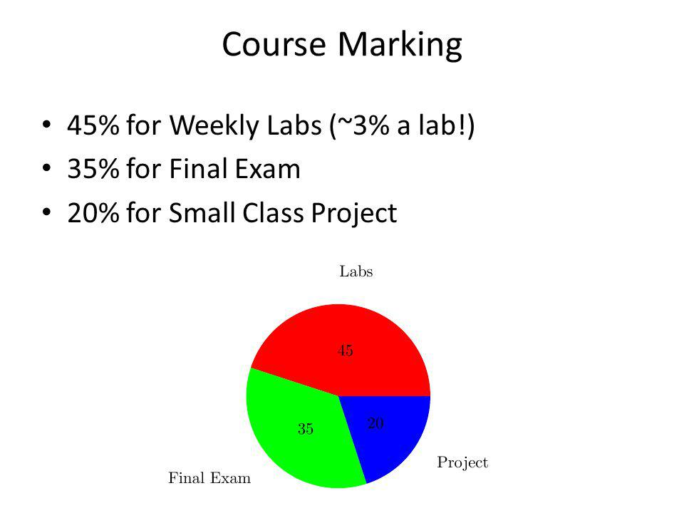 Course Marking 45% for Weekly Labs (~3% a lab!) 35% for Final Exam 20% for Small Class Project